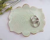 Ring Dish, Wedding ring holder, Tea Bag Holder, Spoon Rest, Engagement Gift, Ring Holder, Mint Green and Gold, JulieKnowlesPottery, IN STOCK