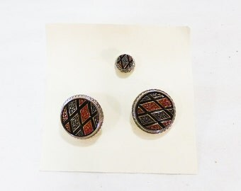 Vintage destino cufflinks with tie tack geometric round