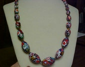 antique Venetian art glass necklace- knotted between beads