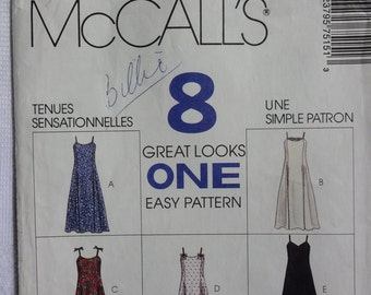 """McCalls 7515 """"8 Great Looks One Easy Sewing Pattern"""" Misses Dress in Two Lengths  Size 6, Vintage 1990's"""