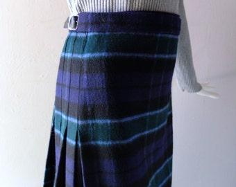 Scottish Traditional Kilt Skirt - size US 10 - Blue Tartan Plaid - James Johnston of Scotland - Cashmere-Like Felted Wool - Dress Kilt