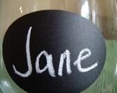 On SALE- Teenie Oval Chalkboard Labels for Place Setting, Chalkboard Wedding Favors.  DIY chalkboard wine glasses - 48