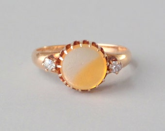 Victorian Fire Opal Ring With Diamonds. Size 5.5