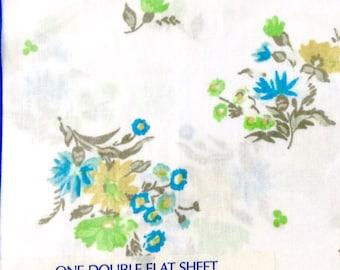 Full Flat Sheet Danville Blue Flowers Vintage