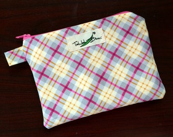 "7""x5"" Tab-Handled Wetbag ~ Perfectly Plaid Cotton with PUL Lining ~ by Talulah Bean"