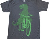 UNISEX Tshirt Dinosaur on a Bicycle T Shirt ASPHALT grey American Apparel Shirt