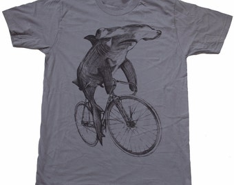 Mens Hammerhead Shark on a BICYCLE SHIRT - American Apparel T Shirt xs s m l xl xxl