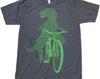 Dinosaur on a Bike- Mens T Shirt, Unisex Tee, Cotton Tee, Handmade graphic tee, Bicycle shirt, Bike Tee, sizes xs-xxl