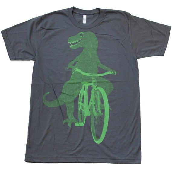 Dinosaur on a Bike- Mens T Shirt, Unisex Tee, Cotton Tee, Handmade graphic tee, Bicycle shirt, Bike Tee, sizes xs-xxl