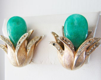 Vintage Pastelli gold flower cocktail earrings with jade green center stone and clear crystal accents (B4)