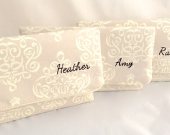 Personalized Bridesmaids Gift Handbag Foldover style clutch perfect Bridesmaids Gift Gift Design your own Clutch Set in various linen colors