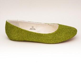 Glitter | Apple Green Ballet Flats Slippers Custom Shoes