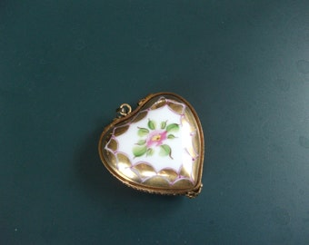 Reserved Vintage Hand Painted Rochard Limoges France Porcelain Heart Box Locket Pendant