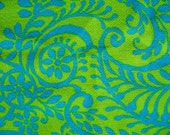 Mod 60's Double Knit Fabric Textile Chartreuse Lime Green Aqua Blue Floral Swirls 50 inches