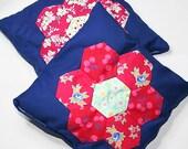 Lavender Pillows Large applique Hexagon