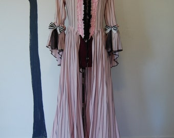 pink striped Marie Antoinette night circus Victorian inspired rococo costume dress sack sacque back