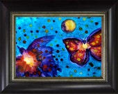 Butterfly, Bird, Full Moon Ink Painting Framed, Fly Me To The Moon Original Art by Marina Petro