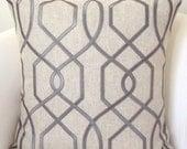 Gray Pillow Cover Textured Pillow Throw Pillow Trellis Pillow Decorative Pillows Accent Cushion Grey Pillow Neutral Pillow