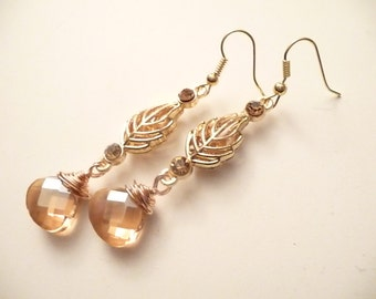 Gold Earrings, Champagne Earrings, Teardrop Earrings, Crystal Earrings, Leaf Earrings, Dangle Earrings, Wire wrapped Earrings