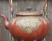 Floral details on Copper--Tea Pot Wind Chime
