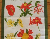 Vintage Souvenir Tea Towel Blossoms of BARBADOS 100% Cotton 30 x 19 in., Air Plant, Anthurium, Amherstia, Amaryllis, Allamanda, Frangipani