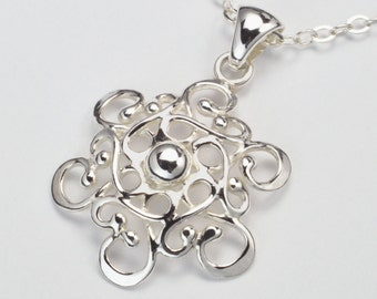 Made In Alaska Filigree Snowflake Argentium Sterling Silver Pendant Necklace