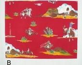 Vintage, Western Fabric, Alexander Henry, Red, FQ, Cowboy, OOP