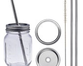 2 Mason Jar Metal Straws and Lids & Free Bonus Cleaning Brush! Spill Free!