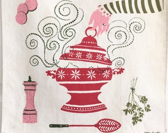 Linen Kitchen Towel Soup Tureen George Wright Midcentury Artist Designer Witches Stew