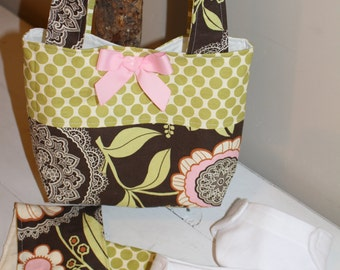 Dolly Diaper Bag Set in Amy Butler's Lotus Lacework in Olive