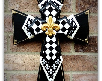 Wall Cross - Wood Cross - X-Small - Black & White Fleur de Lis and Harlequin designs with Gold Fleur de Lis