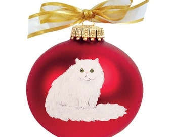 Persian Cat Hand Painted Christmas Ornament - Can Be Personalized with Name