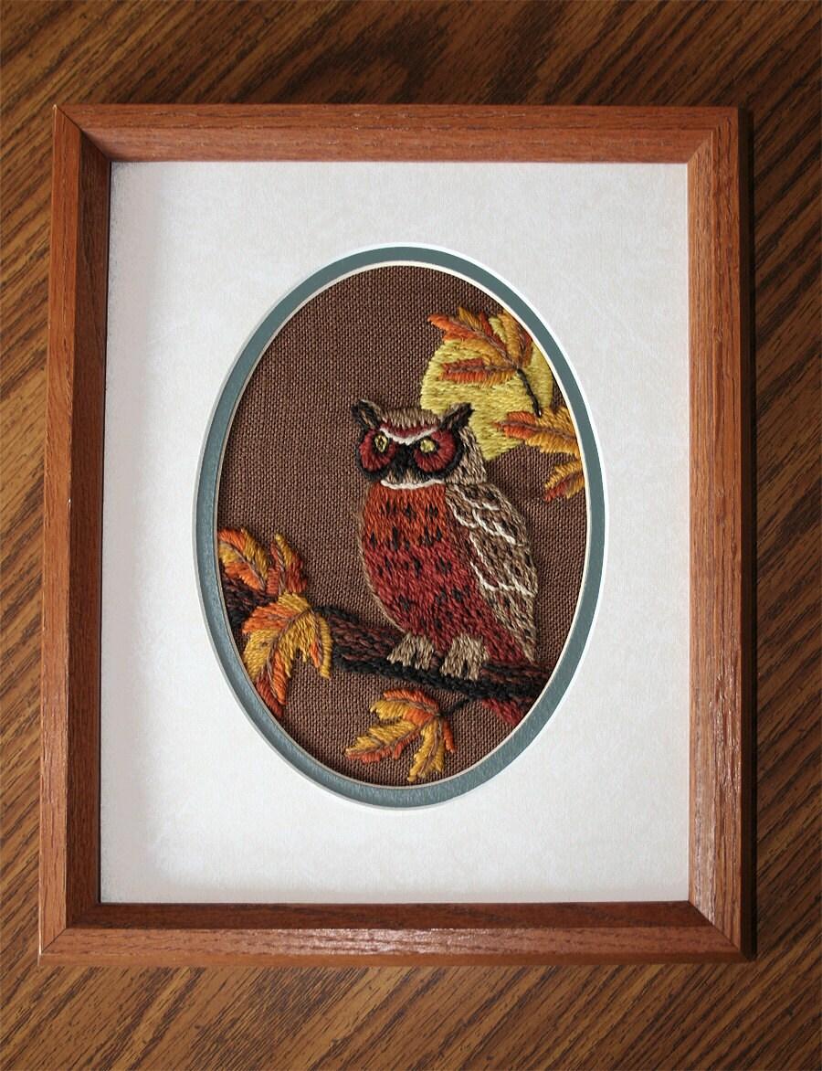 Owl Wall Art Framed Owl Embroidery Crewel Embroidery Owl