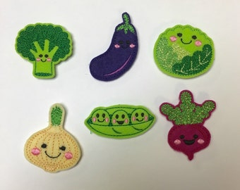 Broccoli Lettuce Eggplant Radish Pea Pod Onion You Choose Happy Veggies Vegetable Embroidered Felt Applique