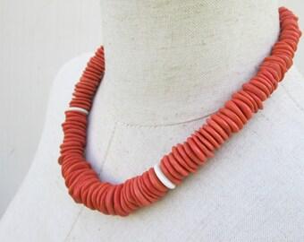 Chunky Bitter Orange Heishi Beads Necklace, Silver Sun Clasp