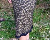 Small - Black and Gold Shipibo Mid-calf Skirt - Hand Screened - Tribal Fusion - Seed of Life - Sacred Geometry
