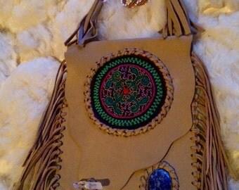 Shipibo Leather Medicine Bag - One of a Kind - Handmade - Tribal - Boho - Gypsy