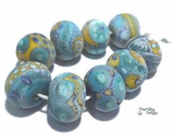 AEGEAN Lampwork Beads Handmade Blue Turquoise Squash Matte Ancient Look Finish  Big Free Flow Designs Set of 9