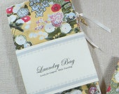 Reserved for Barbara - Laundry Bag, Asian Garden, Flowers, Gold, Rose, Cotton, Lingerie, Drawstring Bag