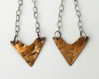 Textured Bronze and Sterling Silver Vee Earrings