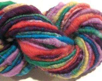 Handspun yarn, Whimsy 50 yards, art yarn,  rainbow yarn, sparkly yarn, corespun yarn, knitting supplies, crochet supplies Waldorf doll hair