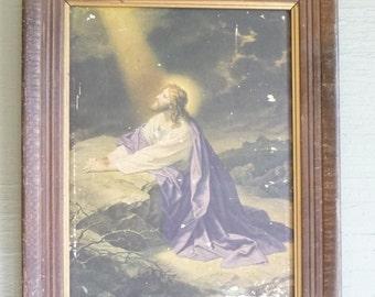 Jesus in Gethsemane, Jesus Praying, Religious Picture, vintage picture, Christian, Bible, vintage Home Decor,Church decor,vintage wood frame