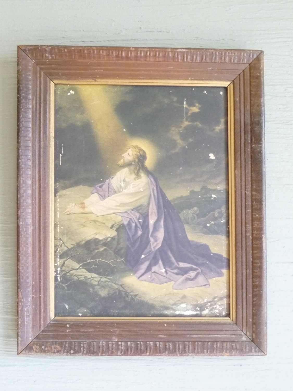 jesus  gethsemane jesus praying religious picture vintage