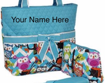 Diaper Bag Aqua Chevron Print with Owls Quilted with Personalized Embroidery