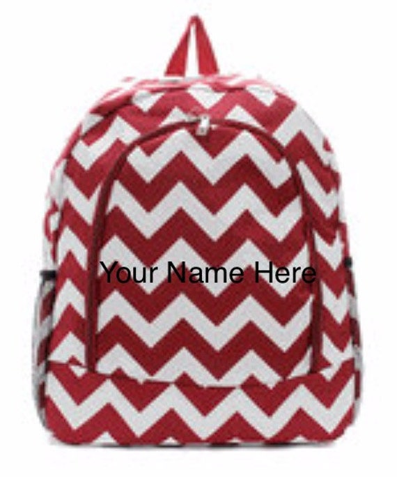 Backpack Personalized Burgundy Chevron Print