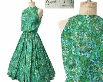 1950s dress / Anne Fogarty / green novelty dress / 50s dress ... XS