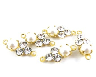 Pearl & Crystal 13x6mm Earring Drops Vintage Connector Pearlized Stone Swarovski Crystals Set Stones Rhinestone Connectors - 4