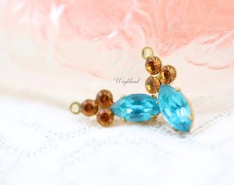 Dark Aqua & Topaz Rhinestone 18x7mm Vintage Navette Set Stones Connector Swarovski Crystals Earring Dangles  - 2