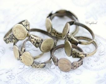 Adjustable Antique Brass Ring Blanks Vintage - 6 .