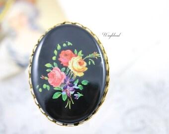 Vintage Oval Flower Bouquet Cabochon 40x30mm Black  - 1
